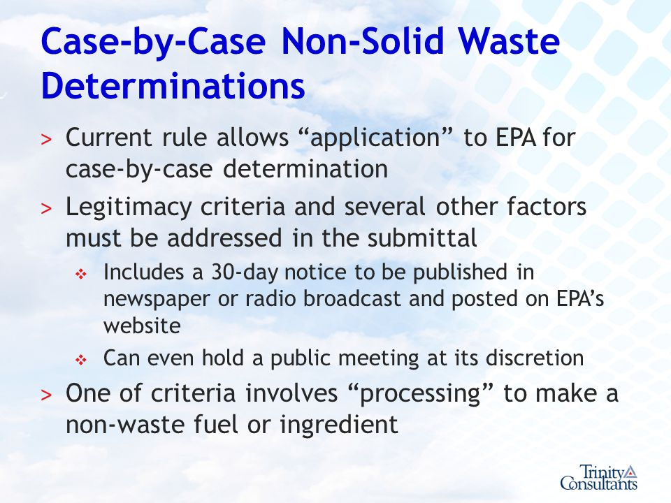 Case-by-Case Non-Solid Waste Determinations