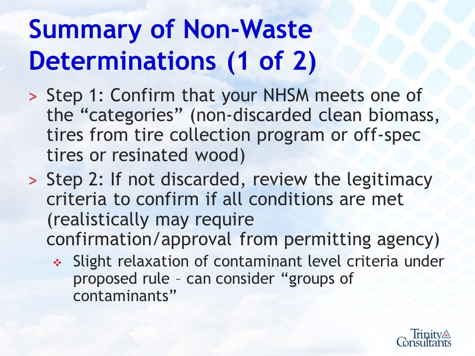 Summary of Non-Waste Determinations (1 of 2)