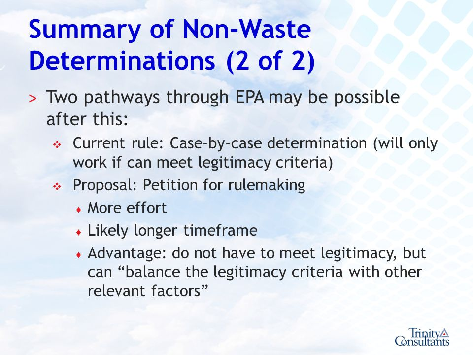 Summary of Non-Waste Determinations (2 of 2)