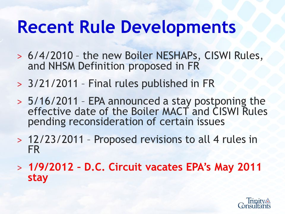 Recent Rule Developments
