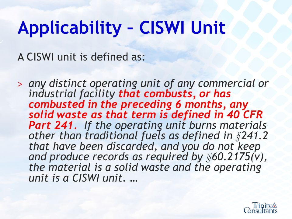 Applicability – CISWI Unit