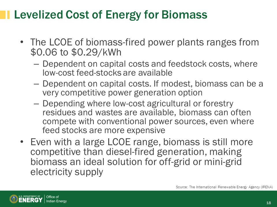 Levelized Cost of Energy for Biomass