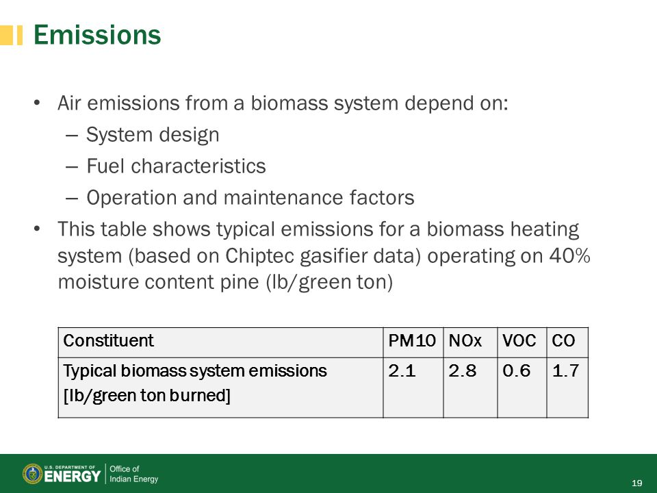 Emissions Air emissions from a biomass system depend on: System design