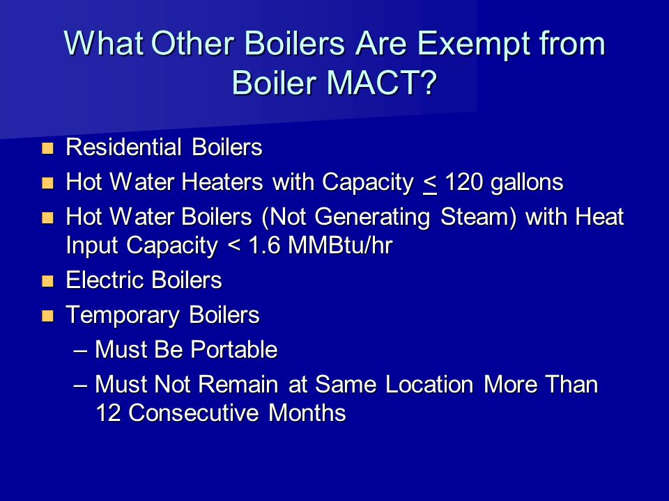 What Other Boilers Are Exempt from Boiler MACT