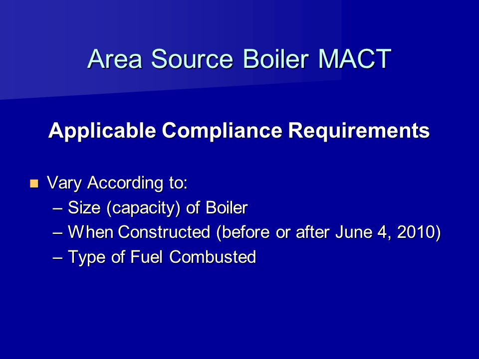 Area Source Boiler MACT