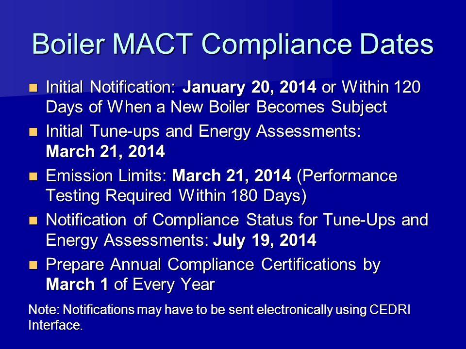 Boiler MACT Compliance Dates