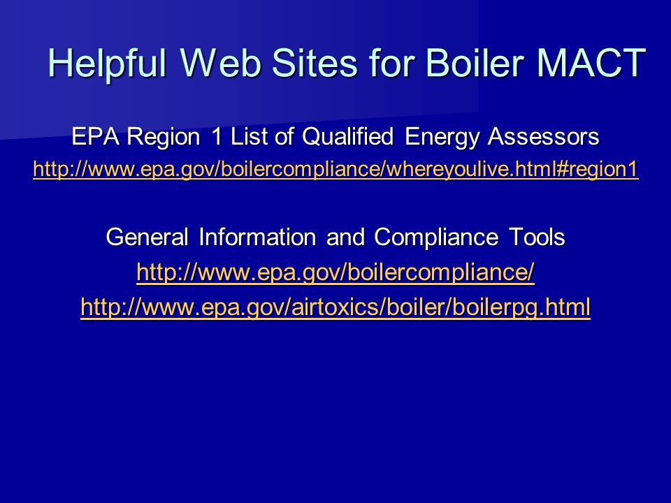 Helpful Web Sites for Boiler MACT