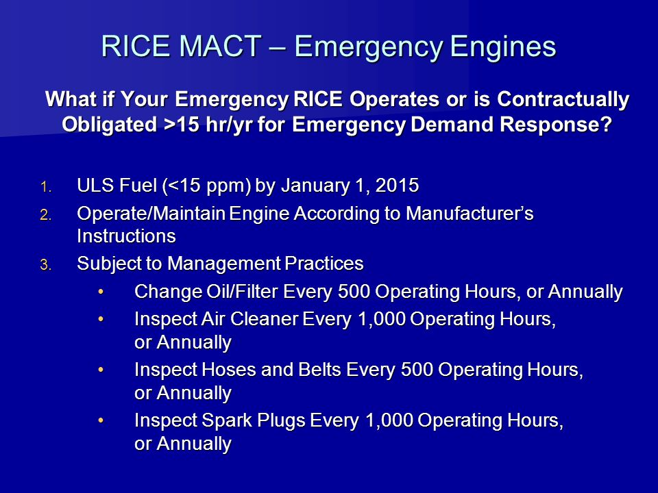 RICE MACT – Emergency Engines