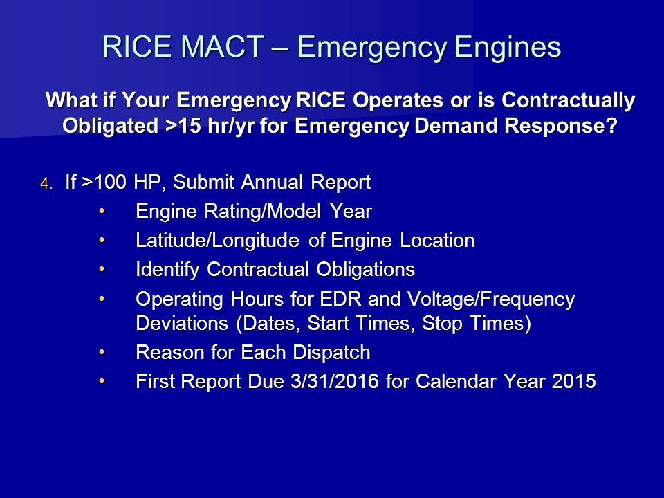 RICE MACT – Emergency Engines