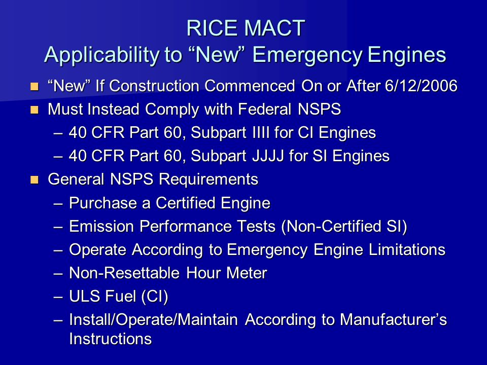 RICE MACT Applicability to New Emergency Engines