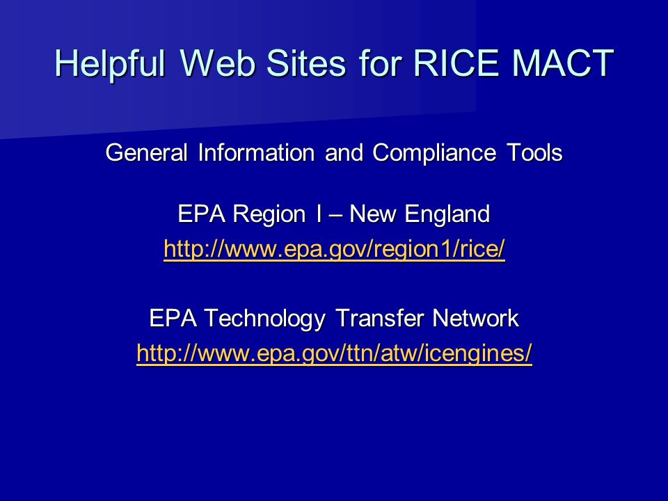 Helpful Web Sites for RICE MACT