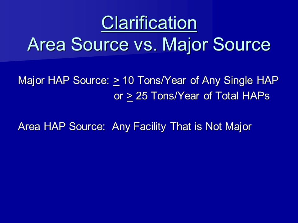Clarification Area Source vs. Major Source