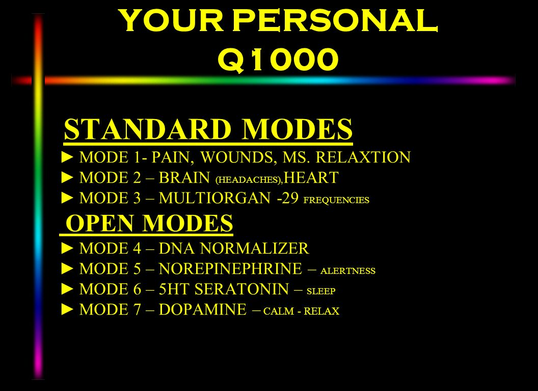 YOUR PERSONAL Q1000 OPEN MODES STANDARD MODES