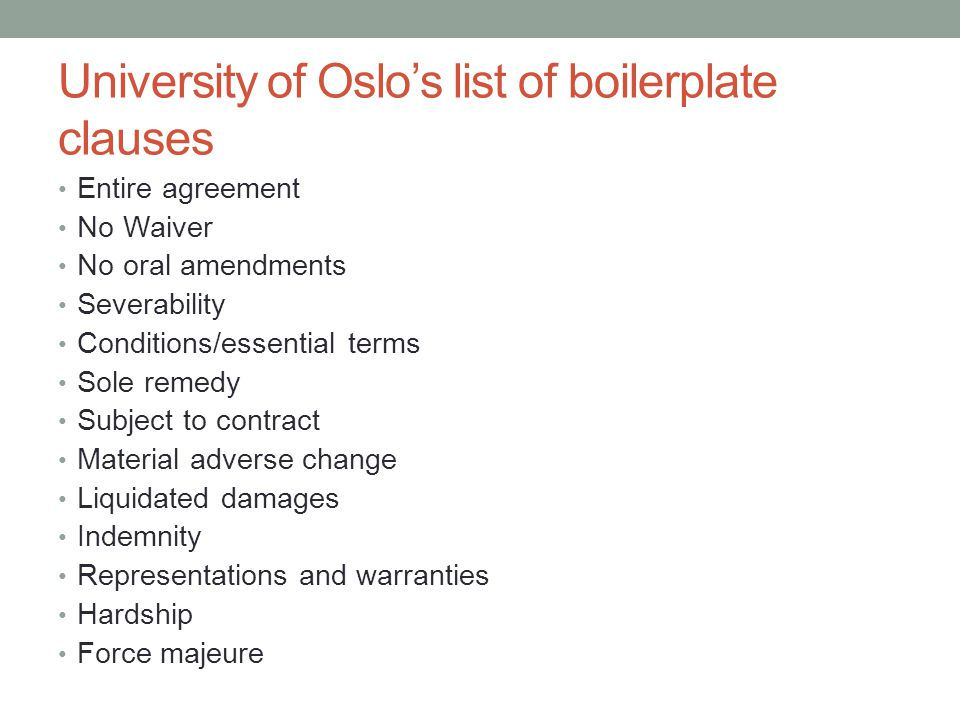 University of Oslo's list of boilerplate clauses