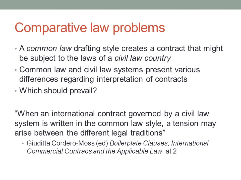 Comparative law problems