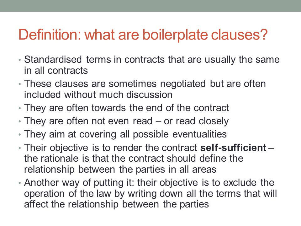 Definition: what are boilerplate clauses