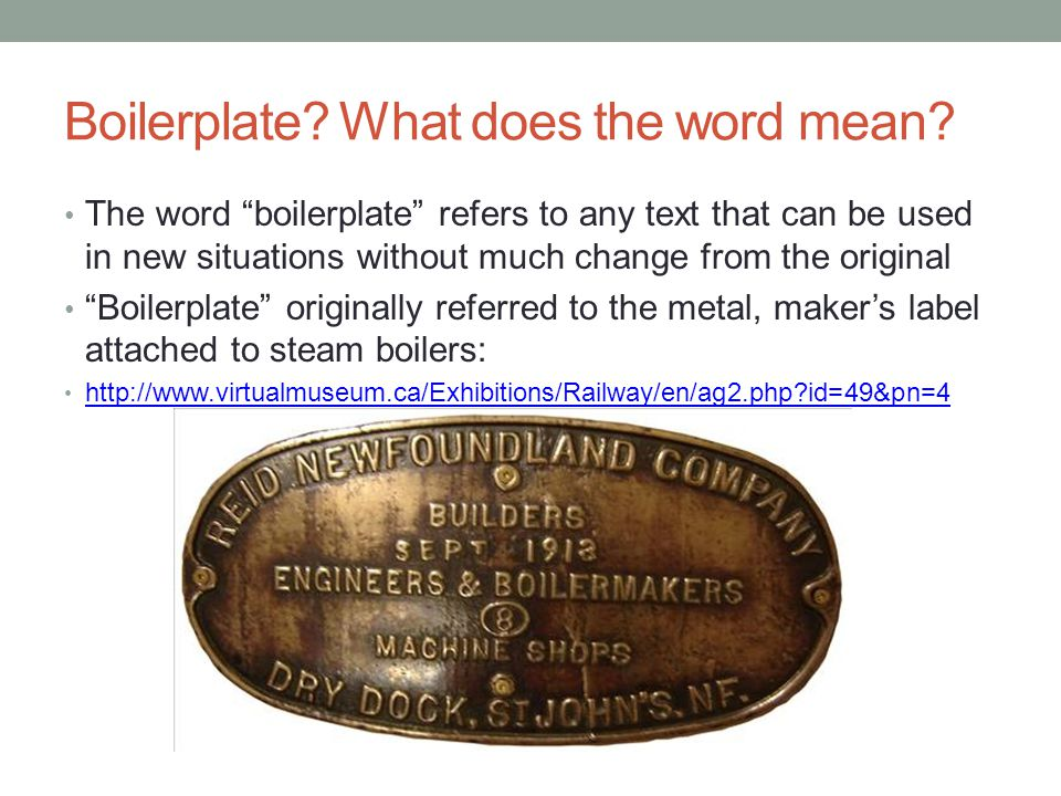 Boilerplate What does the word mean