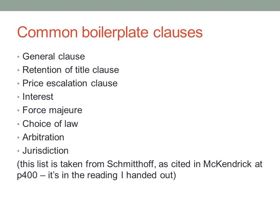 Common boilerplate clauses