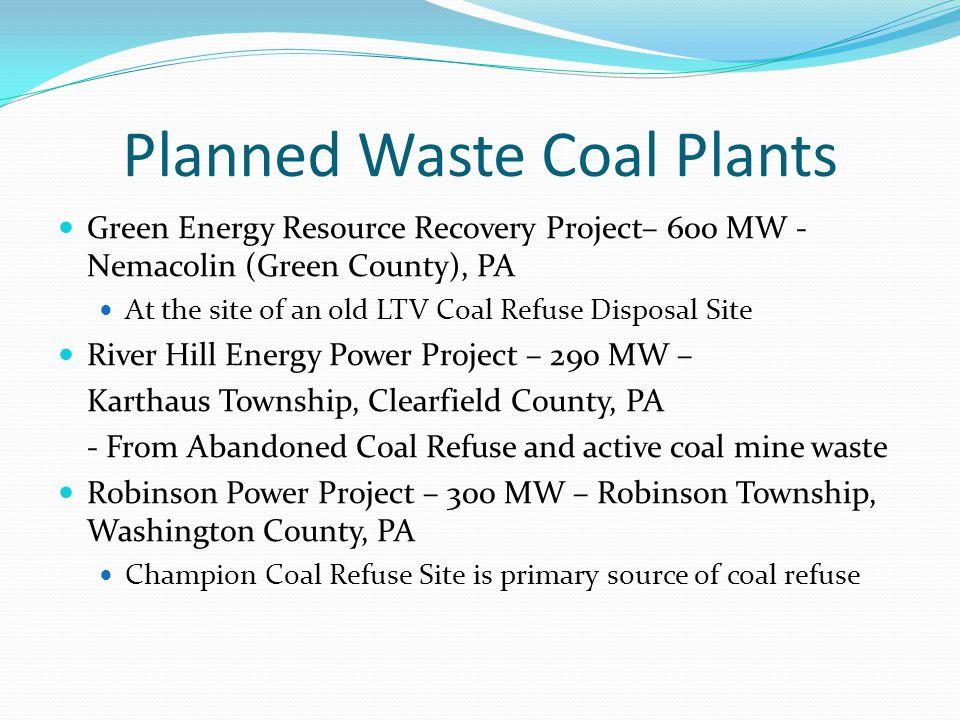 Planned Waste Coal Plants