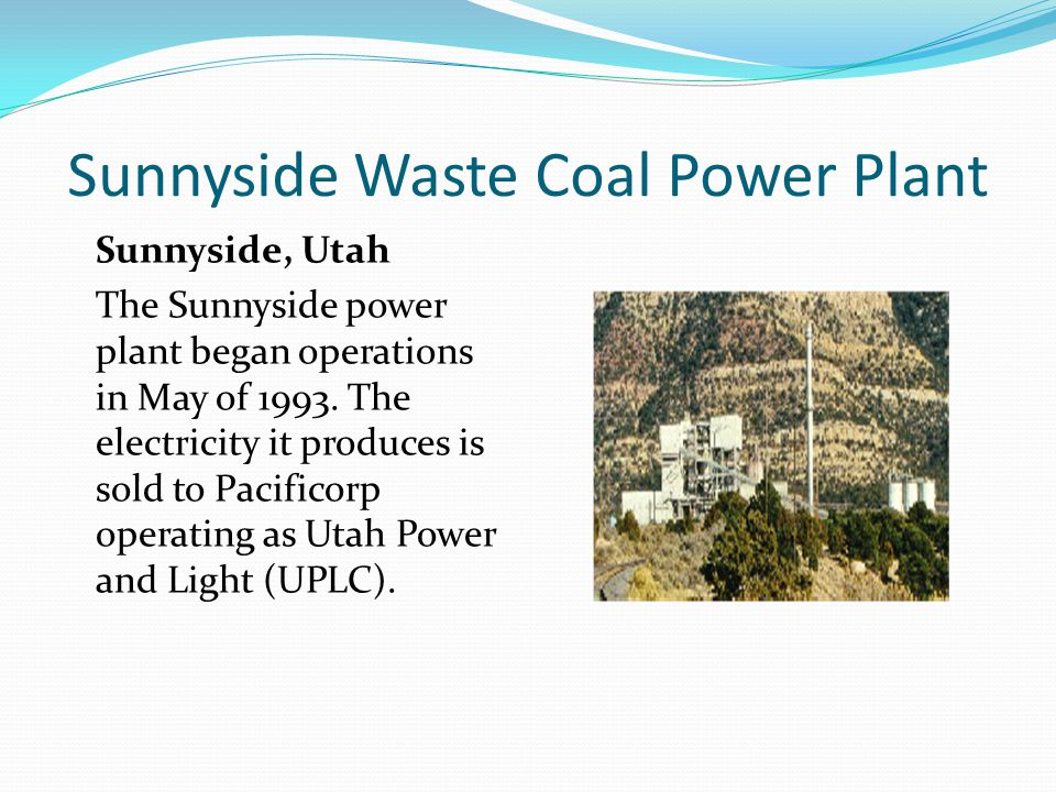 Sunnyside Waste Coal Power Plant