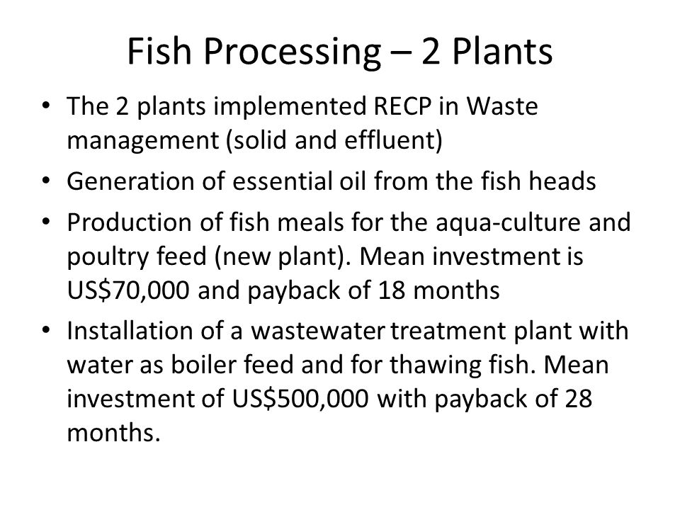 Fish Processing – 2 Plants