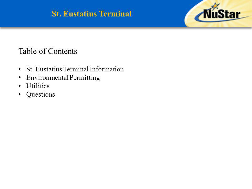 St. Eustatius Terminal Table of Contents
