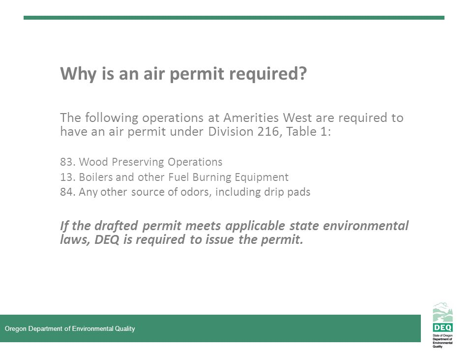 Why is an air permit required