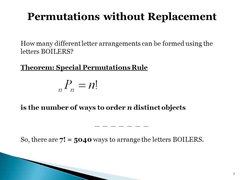 Permutations without Replacement