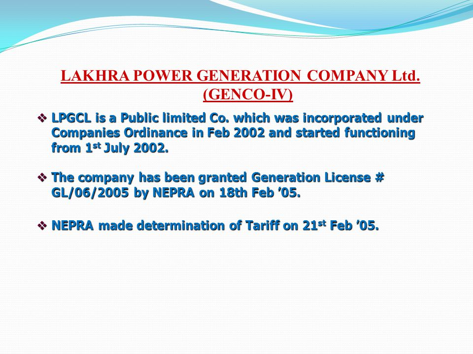 LAKHRA POWER GENERATION COMPANY Ltd. (GENCO-IV)