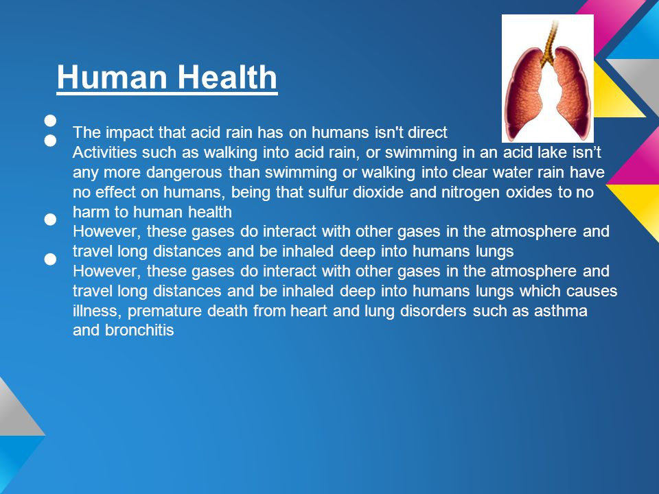 Human Health The impact that acid rain has on humans isn t direct