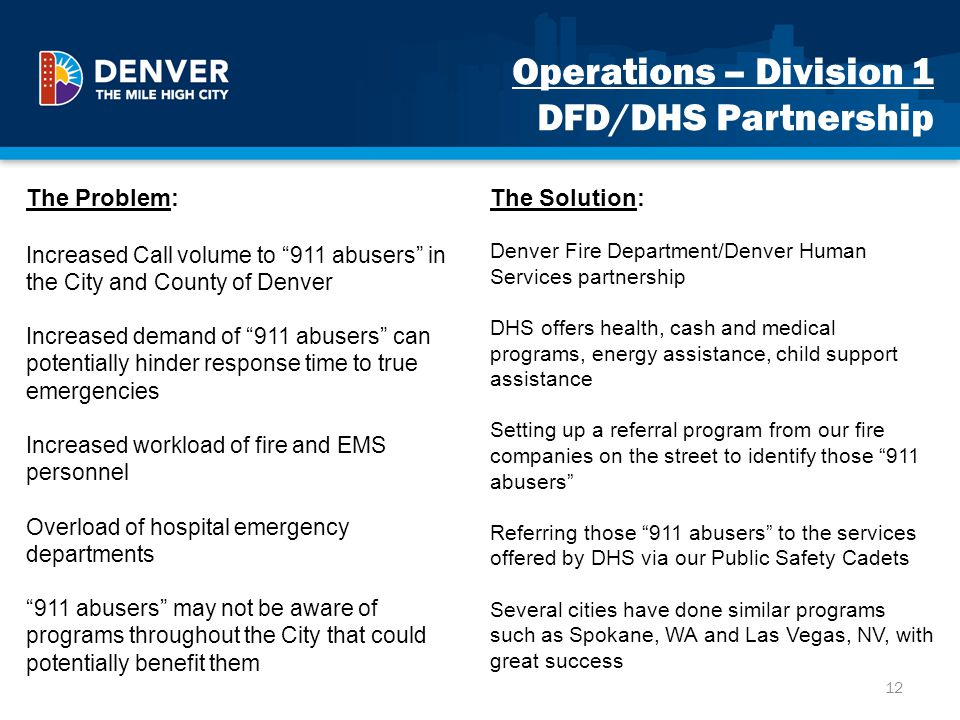 Operations – Division 1 DFD/DHS Partnership