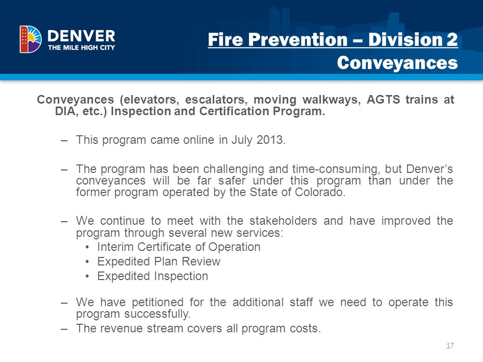 Fire Prevention – Division 2 Conveyances
