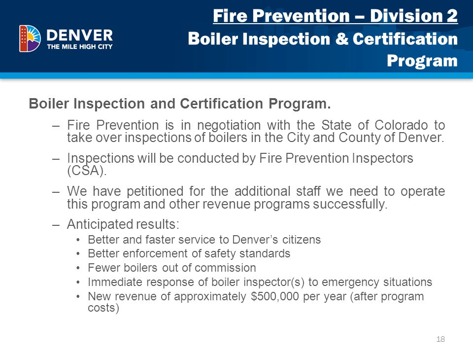 Fire Prevention – Division 2 Boiler Inspection & Certification Program