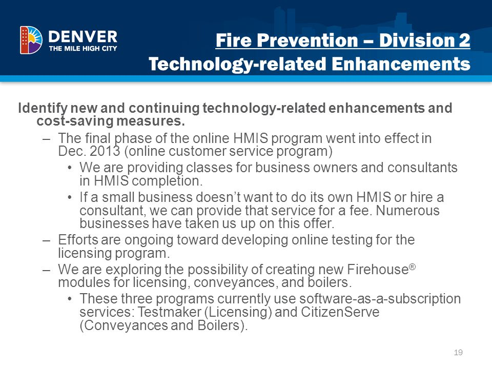 Fire Prevention – Division 2 Technology-related Enhancements