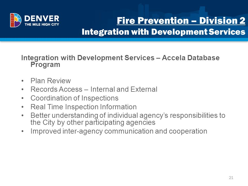 Fire Prevention – Division 2 Integration with Development Services