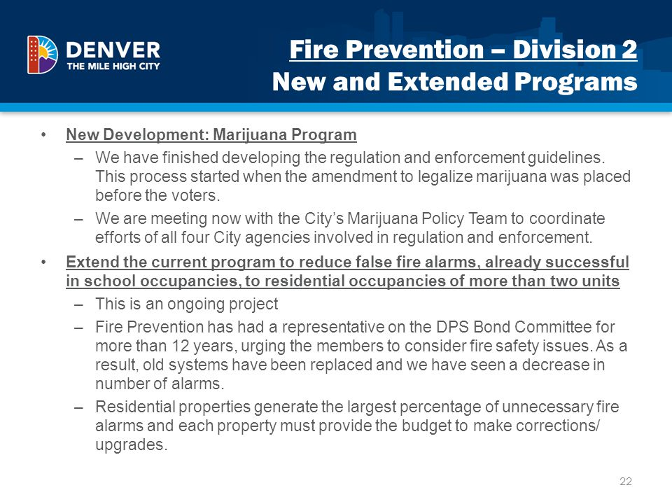 Fire Prevention – Division 2 New and Extended Programs