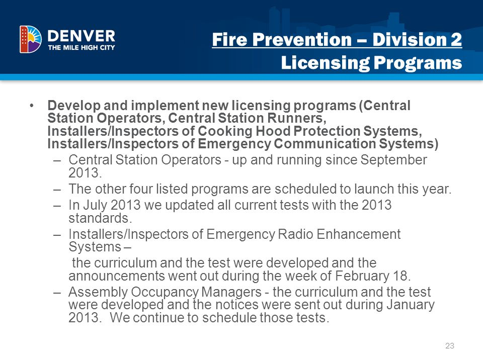 Fire Prevention – Division 2 Licensing Programs