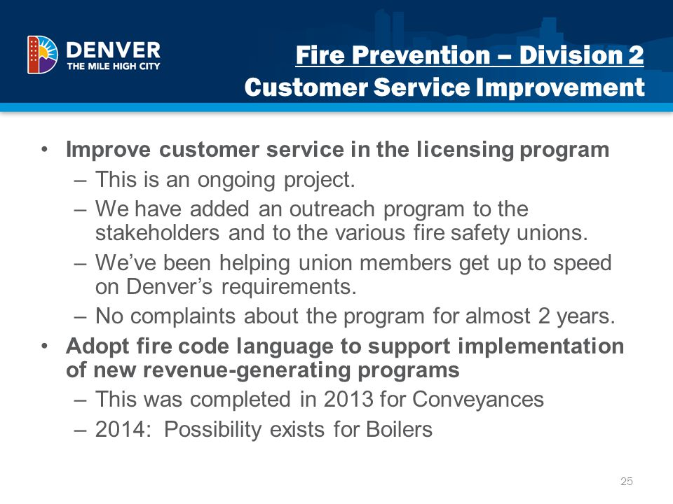 Fire Prevention – Division 2 Customer Service Improvement