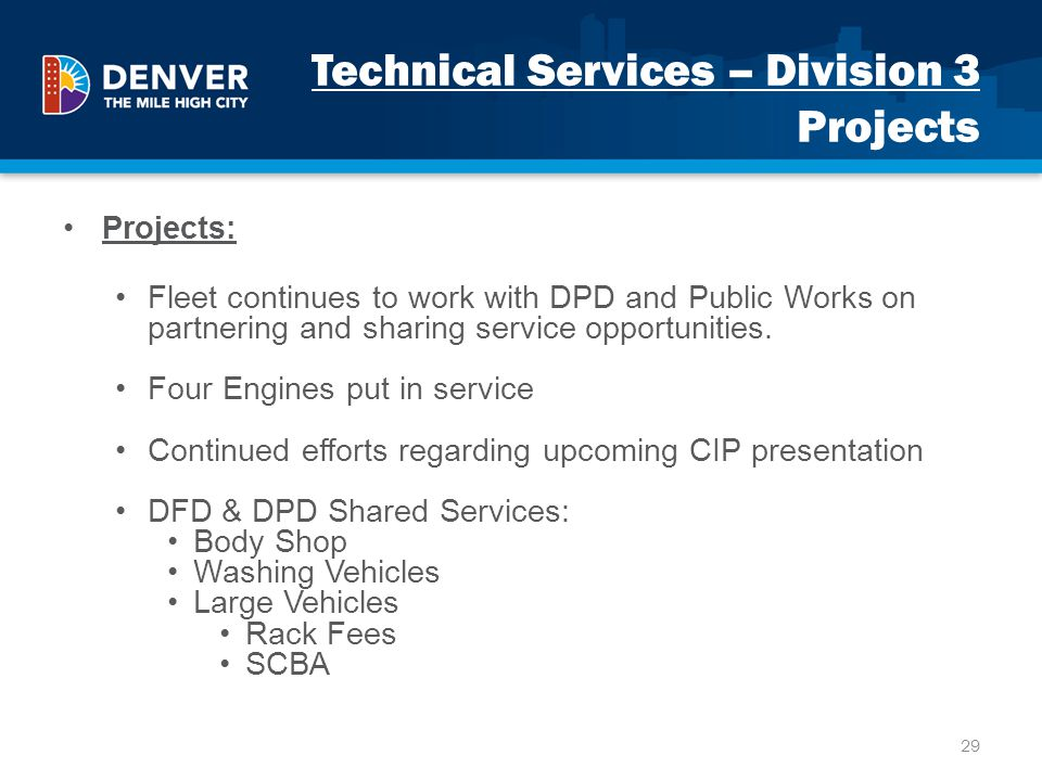Technical Services – Division 3 Projects