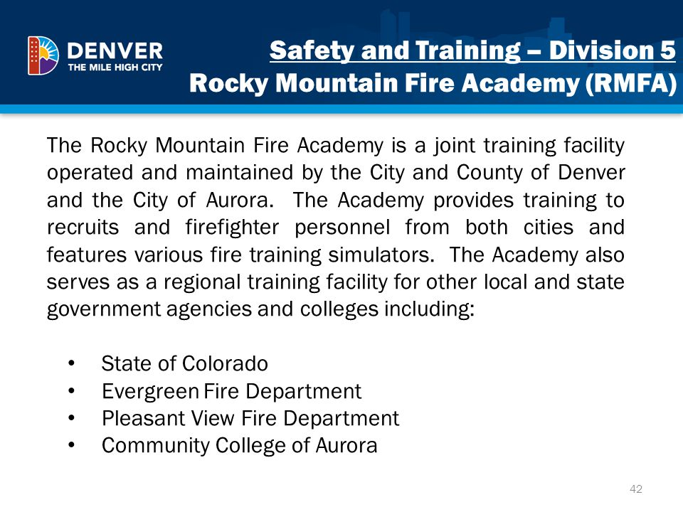 Safety and Training – Division 5 Rocky Mountain Fire Academy (RMFA)