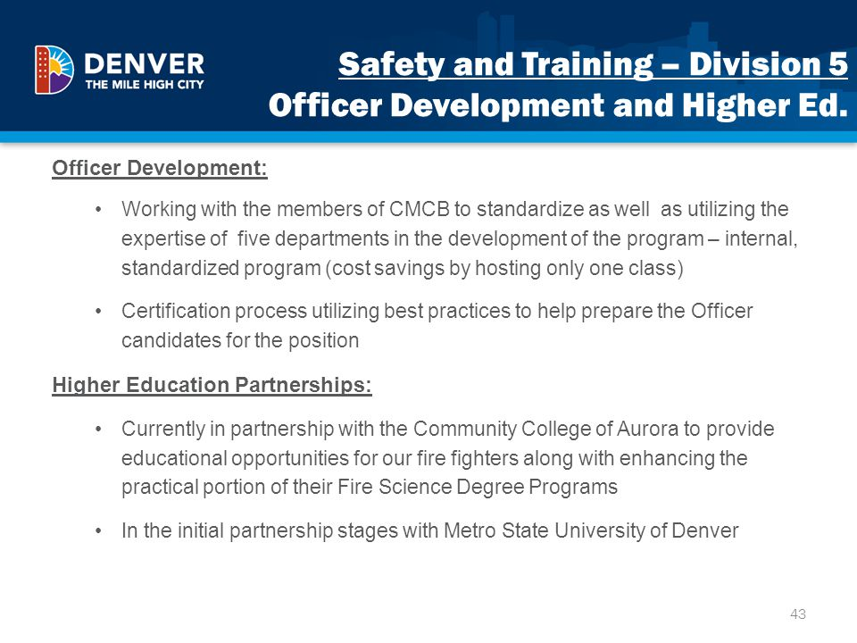 Safety and Training – Division 5 Officer Development and Higher Ed.
