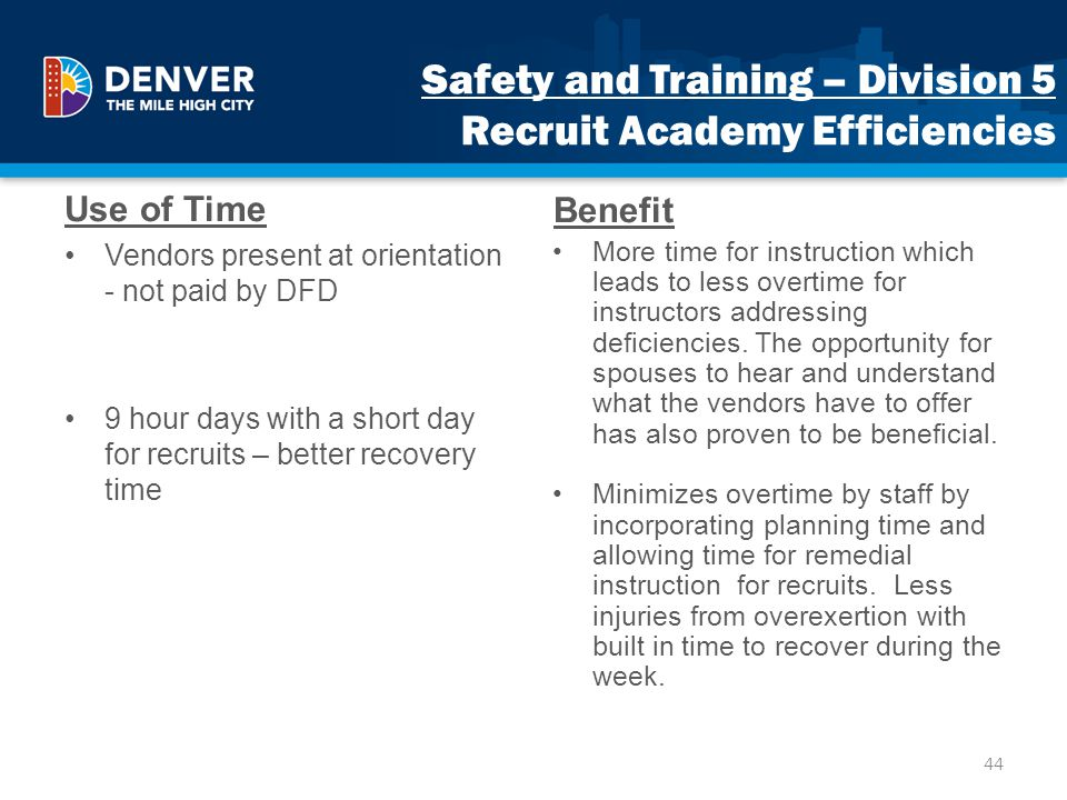 Safety and Training – Division 5 Recruit Academy Efficiencies
