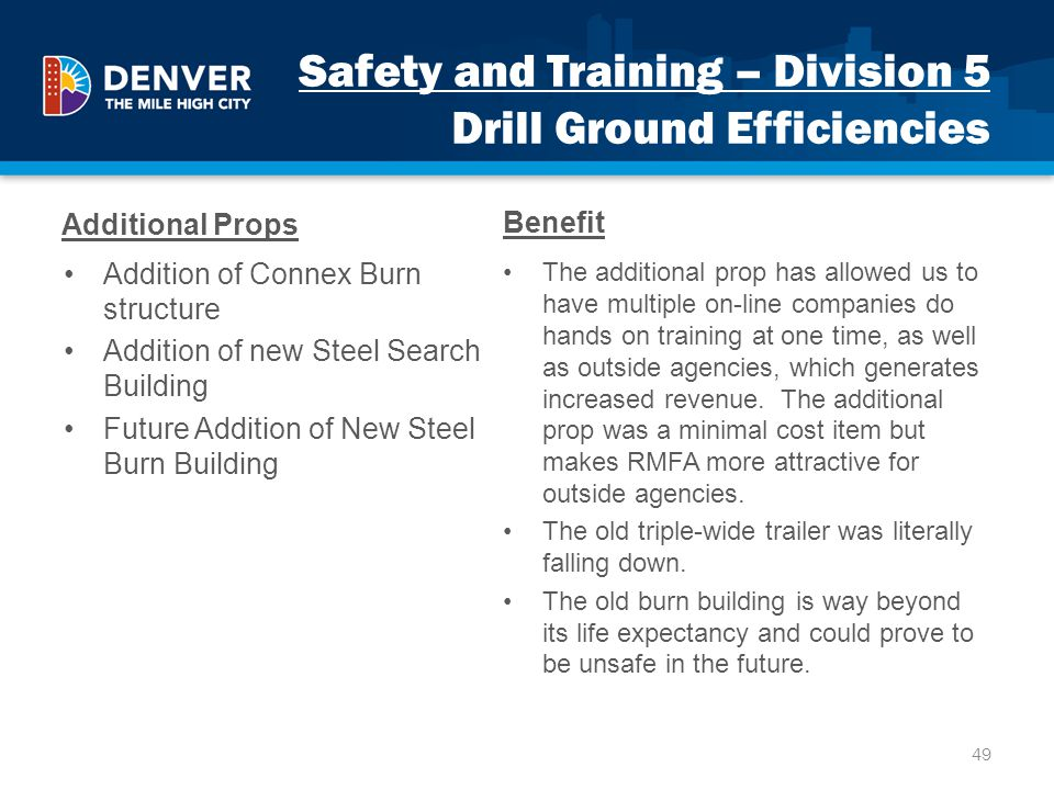 Safety and Training – Division 5 Drill Ground Efficiencies