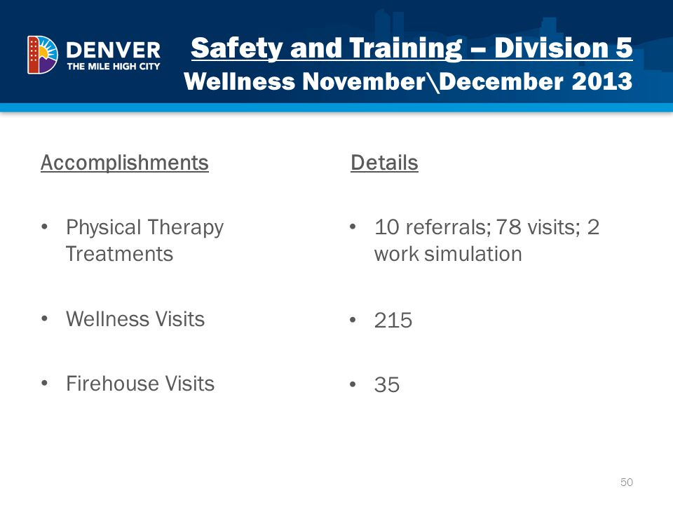 Safety and Training – Division 5 Wellness November\December 2013