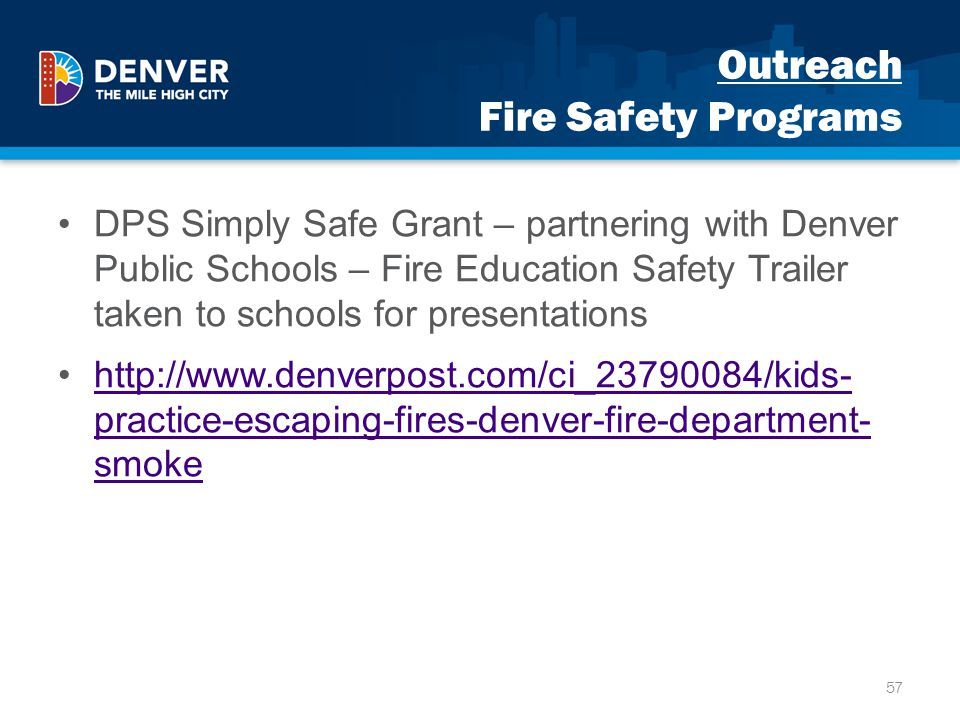 Outreach Fire Safety Programs