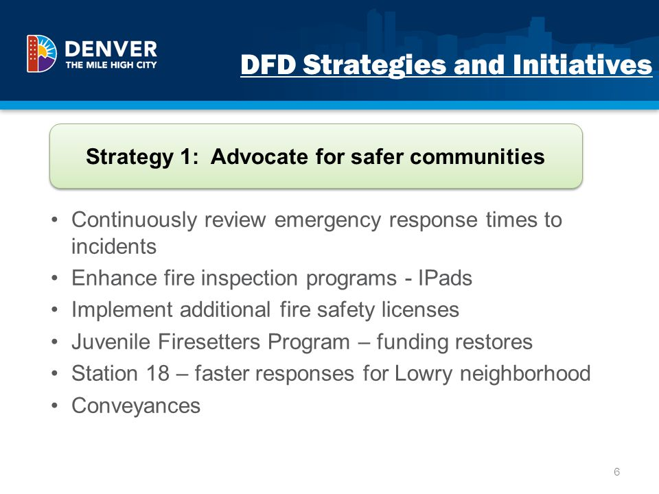 DFD Strategies and Initiatives