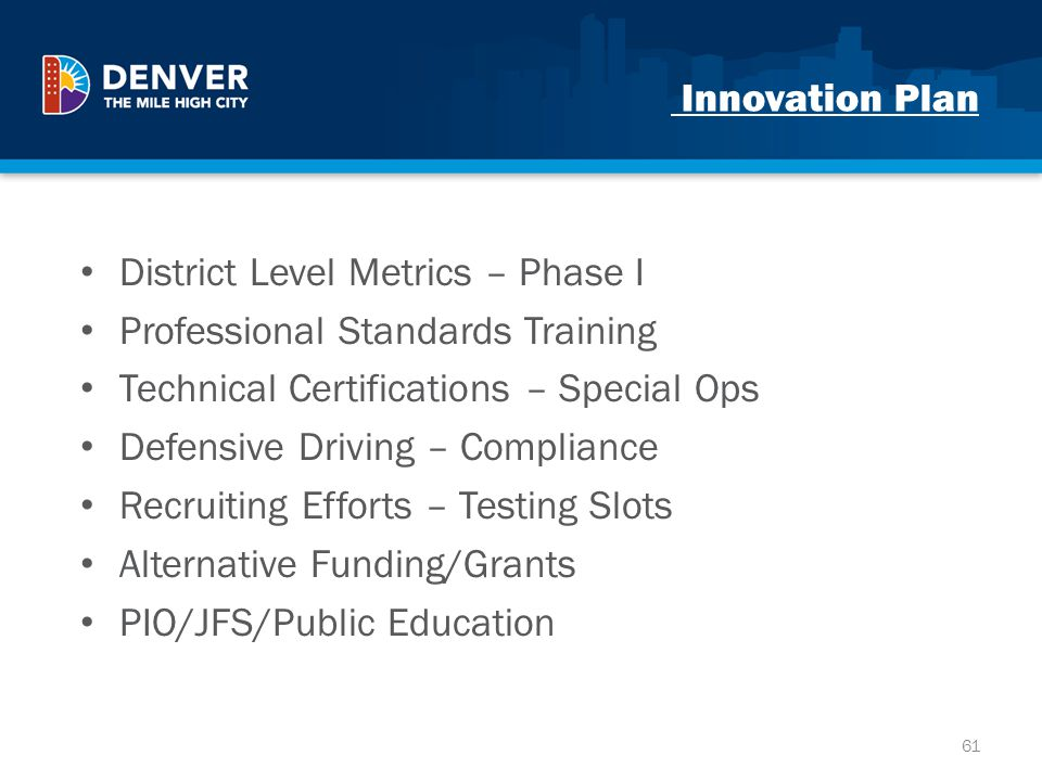 Innovation Plan District Level Metrics – Phase I. Professional Standards Training. Technical Certifications – Special Ops.