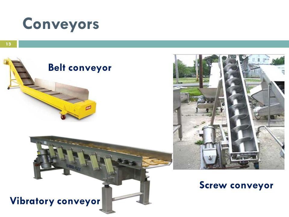 Conveyors Belt conveyor Screw conveyor Vibratory conveyor