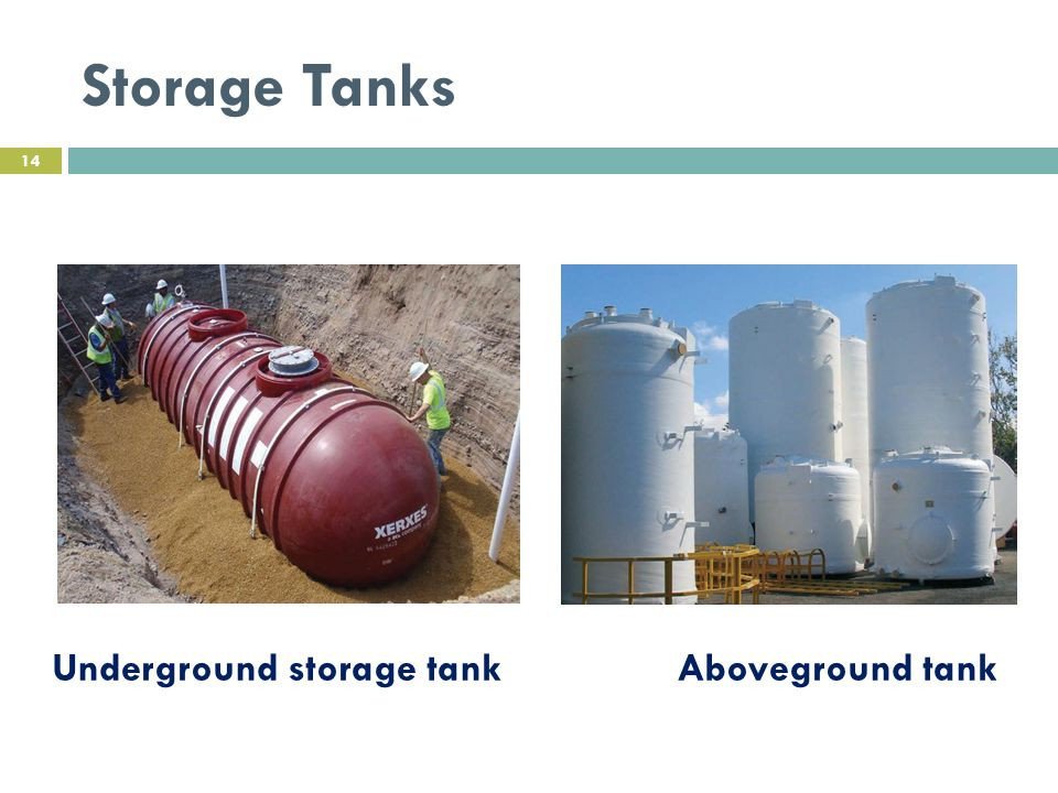 Storage Tanks Underground storage tank Aboveground tank