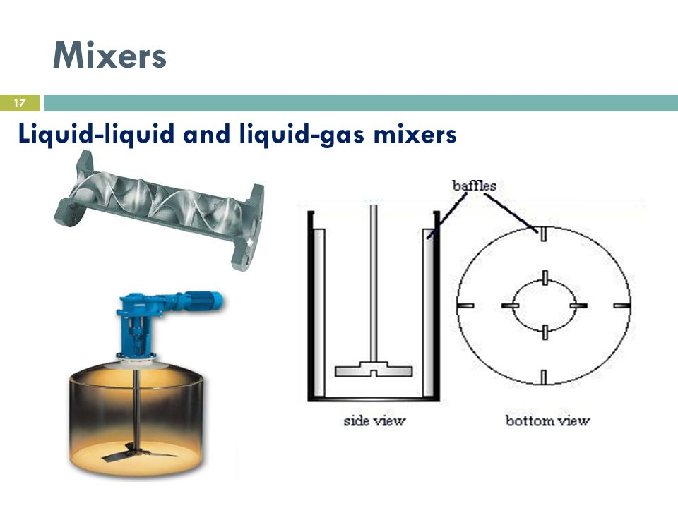 Mixers Liquid-liquid and liquid-gas mixers